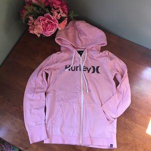 Pink zip up hooded sweatshirt